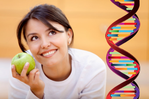 a woman smiling and holding an apple with a strand of DNA overlaying the picture